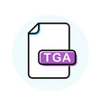 tga file format extension color line icon vector image vector image