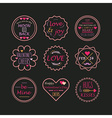 Valentines day line emblem set on black background vector image