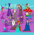 witches and wizards cartoon characters group vector image vector image