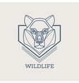 Wolf linear art icons vector image