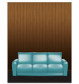 wooden wall and blue sofa in front vector image vector image