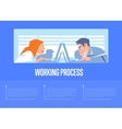 Working process banner with business people vector image vector image