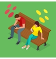 Young man and woman sitting on the bench and send vector image