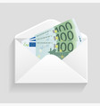 open envelope and 100 euro bills cash vector image