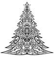 zentangle christmas tree decorative doodle vector image