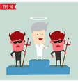 Angel and Devil on winner podium - - EPS10 vector image vector image