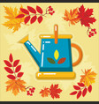 autumn agricultural icons with autumn leaves 3 vector image vector image