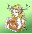 blonde girl holding a deer in her arms vector image vector image