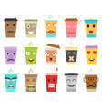 cartoon color cup coffee or tea characters set vector image vector image
