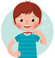 cartoon of a cute little boy vector image vector image