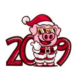 cartoon pig with the sunglasses 2019 year icon vector image vector image
