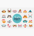 collection winter animal masks and christmas vector image vector image