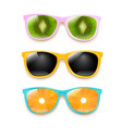 colorful sunglasses set isolated white background vector image vector image