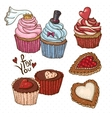 Doodle set elements with Cookies and Cupcakes vector image vector image