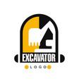 excavator logo template backhoe service label vector image vector image