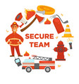 fire protection secure team poster of firefighter vector image vector image