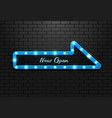 frame light sign arrow blue retro on background vector image vector image