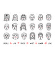 funny people avatars faces of men and women vector image