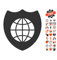 global shield icon with love bonus vector image vector image