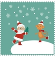 Greeting card with happy Santa and monkey skates vector image vector image