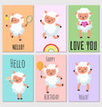 happy birthday hello cards with cute sheep vector image vector image