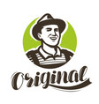 happy farmer with hat logo agriculture farming vector image vector image