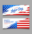 happy labor day flag usa brush style vector image vector image
