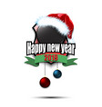 hockey puck with santa hat and happy new year vector image