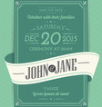 Invitation cards in an vintage style green vector image