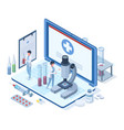 isometric online medical healthcare concept vector image