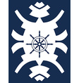 Navy blue and white hipster ornament with rudder vector image vector image