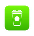 paper coffee cup icon digital green vector image vector image