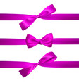 realistic pink bow with horizontal pink ribbons vector image vector image