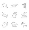 scandinavia life icons set outline style vector image vector image