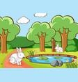 scene with bunnies in park vector image
