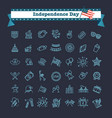 set of 42 usa independence day line icons suitable vector image