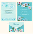 set of invitation cards in turquoise vector image vector image