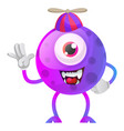 smiling and waving one eye monster on white vector image vector image
