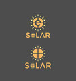 solar logo company with sun light and letter e vector image