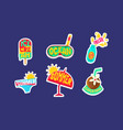 summer stickers set cute holidays trendy patches vector image