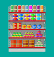 supermarket shelves with groceries vector image vector image