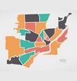 toledo ohio map with neighborhoods and modern vector image vector image