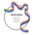waving ribbon flag south africa on circle