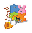 with trumpet puzzle mascot cartoon style vector image