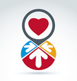 Colorful corporate brand icon with a red heart vector image