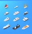 set of different ship motorboat sailing yacht vector image
