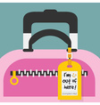 Close up of travel carry on bag with hanging tag vector image