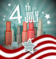 4 th July Retro with Flag and City on Backgr vector image