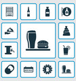 alcohol icons set with bottle of rum badge vodka vector image