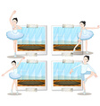 Ballet dancers dancing and stretching vector image vector image